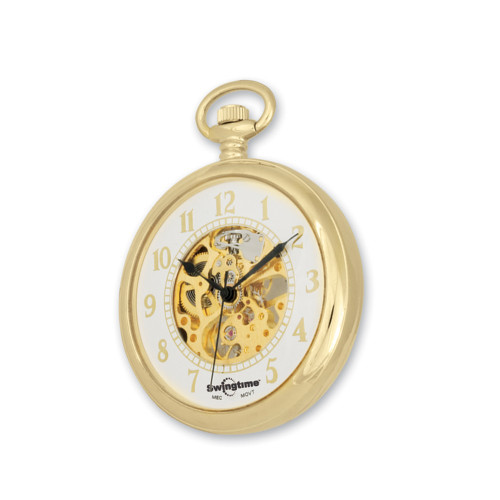 Swingtime Goldtone Brass Mechanical Open Face Mens Pocket Watch XWA2768