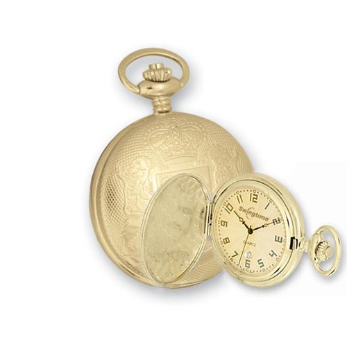 Swingtime Goldtone Brass Swiss Quartz Date Mens Pocket Watch