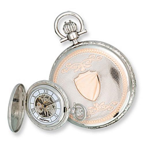 Swingtime Engravable Two-Tone Brass Mechanical Mens Pocket Watch