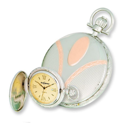 Swingtime Engravable Two Tone Brass Swiss Quartz Date Pocket Watch