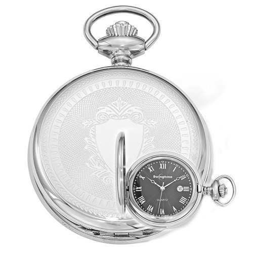 Swingtime Engravable Stainless Steel Swiss Quartz Date Mens Pocket Watch
