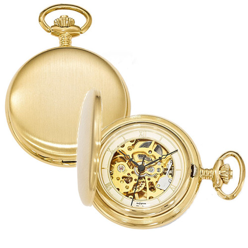 Swingtime Goldtone Brass Wind Up Mechanical Engravable Pocket Watch