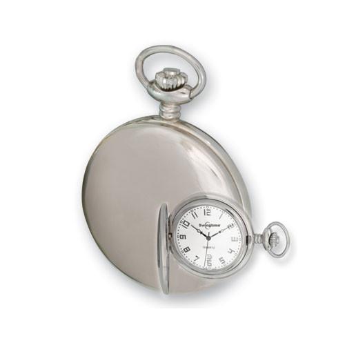 Swingtime Engravable Stainless Steel Swiss Quartz Mens Pocket Watch