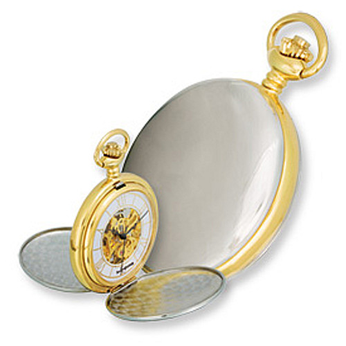 Swingtime Engravable Two-tone Brass Double Cover Mechanical Pocket Watch