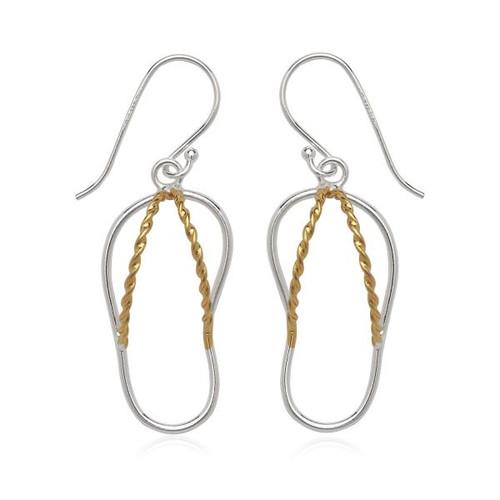 Sterling Silver 925 Two Tone Flip Flop Dangle Hook Womens Earrings