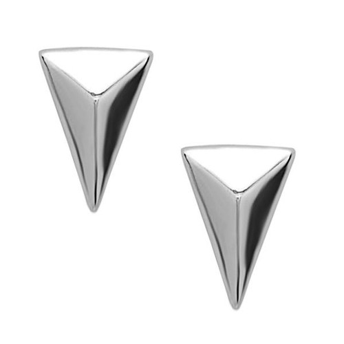 Sterling Silver 925 Small Pyramid Triangle Womens Earrings