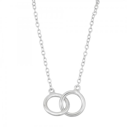 Sterling Silver 925 Interlocked Rings Necklace