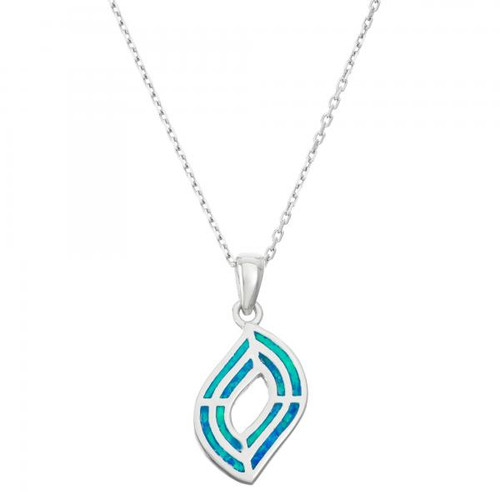 Sterling Silver 925 Created Opal Inlay Necklace