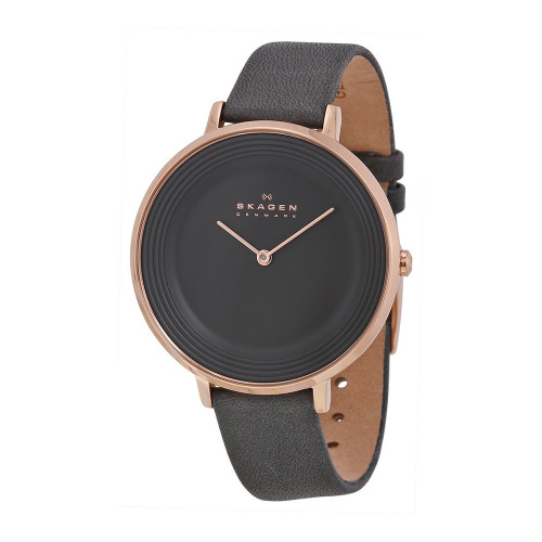 Skagen SKW2216 Ditte Rose-tone Stainless Steel Gray Leather Womens Watch