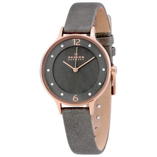 Skagen SKW2267 Anita Rosetone Crystal Gray Leather Womens Watch