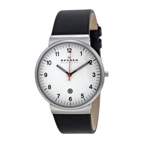 Skagen SKW6024 Ancher White Dial Black Leather Mens Watch