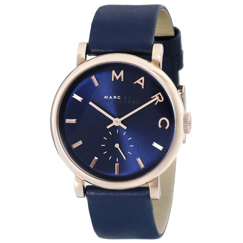 Marc Jacobs MBM1329 Baker Rose-tone Stainless Steel Blue Leather Womens Watch