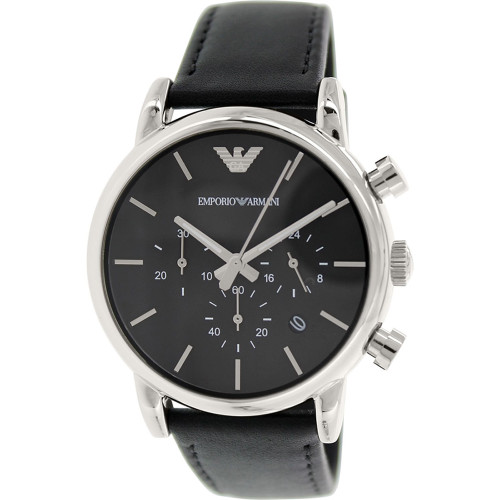Emporio Armani AR1733 Classic Chronograph Black Leather Mens Watch