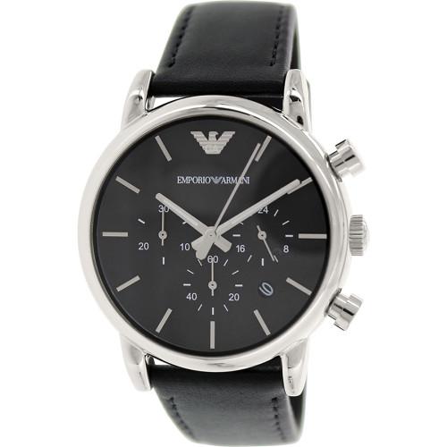Emporio Armani AR1733 Classic Chronograph Black Leather Mens Watch