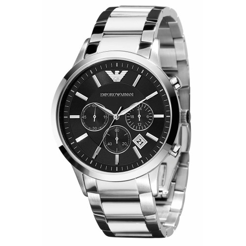 Emporio Armani AR2434 Classic Chronograph Black Dial Stainless Steel Mens Watch