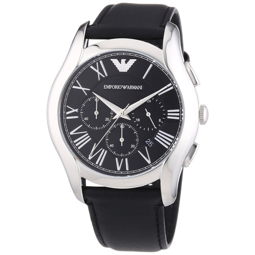 Emporio Armani AR1700 Classic Chronograph Black Leather Mens Watch