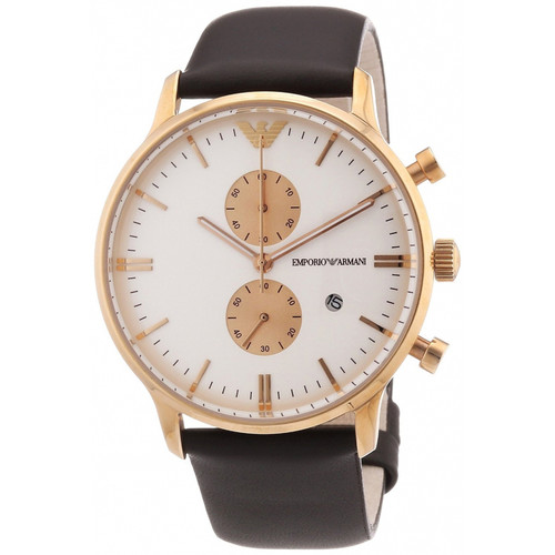 Emporio Armani AR0398 Classic Quartz Chronograph Brown Leather Mens Watch