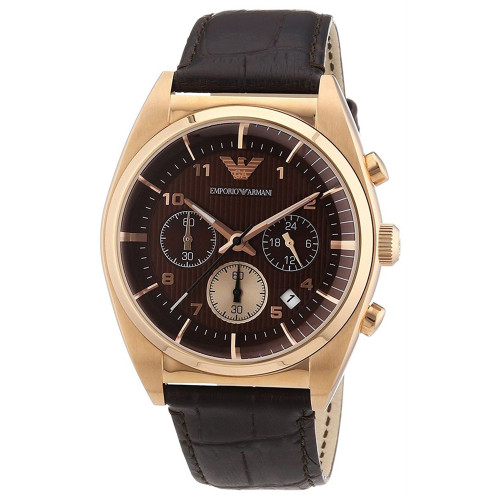 Emporio Armani AR0371 Classic Quartz Chronograph Brown Leather Mens Watch
