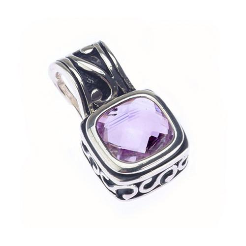 Sterling Silver 925 Designed Amethyst Gemstone Pendant