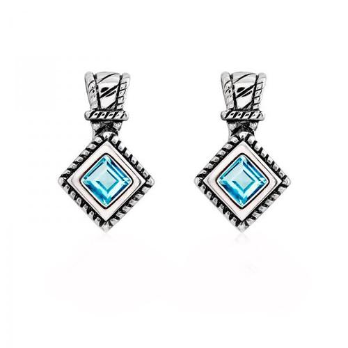 Sterling Silver 925 Blue Topaz Gemstone Womens Earrings - $31.97