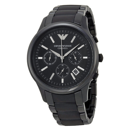Emporio Armani AR1452 Ceramica 43mm Black Chronograph Mens Watch