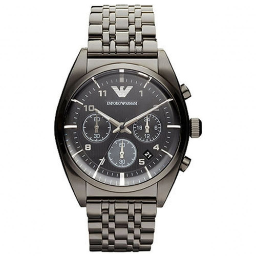 Emporio Armani AR0374 Classic Chronograph Gray IP Stainless Steel Mens Watch