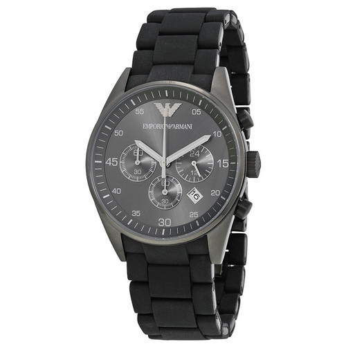 Emporio Armani AR5889 Sportivo Chronograph Black Silicone Mens Watch