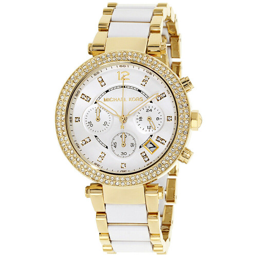 Michael Kors MK6119 Parker Crystal Gold-tone Stainless Chronograph Womens Watch