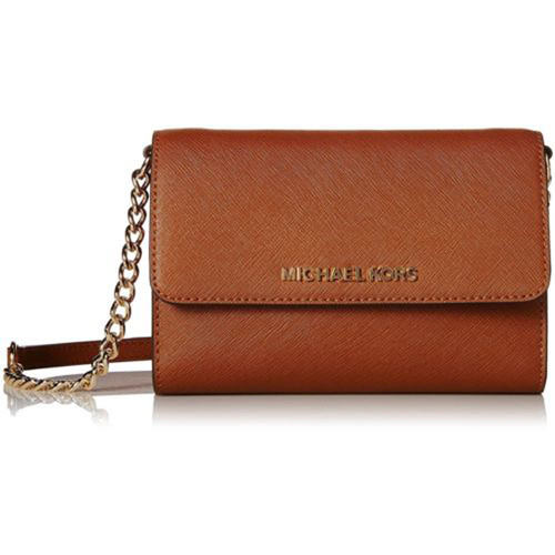 Michael Kors Jet Set Luggage Saffiano Leather Large Cellphone Crossbody 32T4GTVC3L