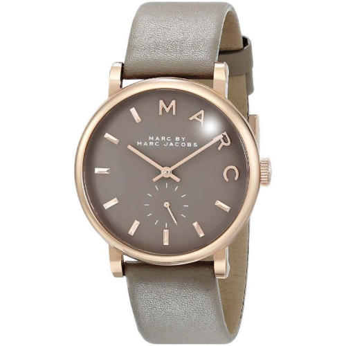 Marc Jacobs MBM1266 Baker Rose-tone Stainless Steel Gray Leather Womens Watch