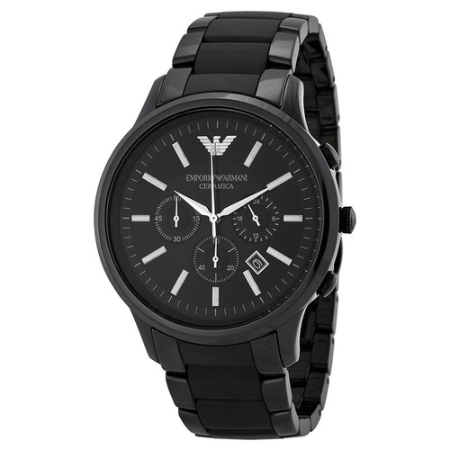 Emporio Armani AR1451 Ceramica 47mm Black Chronograph Mens Watch
