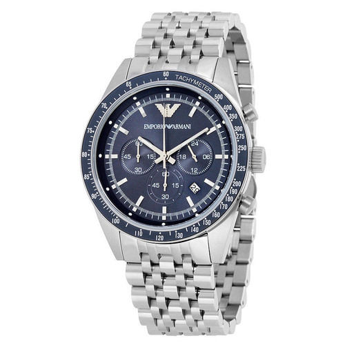 Emporio Armani AR6072 Sportivo Blue Dial Chronograph Stainless Steel Mens Watch