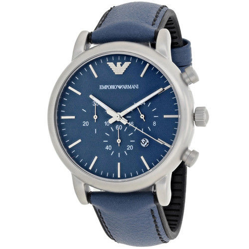 Emporio Armani AR1969 Luigi Chronograph Blue Leather Mens Watch