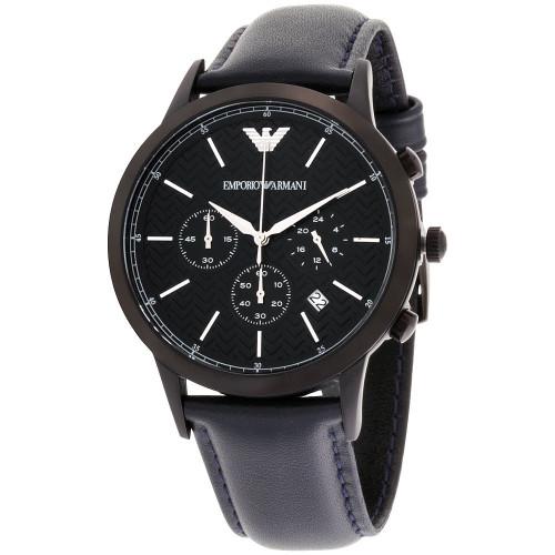 Emporio Armani AR2481 Renato Chronograph Herringbone Dial Blue Leather Mens Watch
