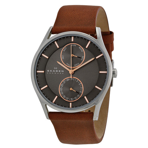Skagen SKW6086 Holst Multifunction Gray Dial Brown Leather Mens Watch