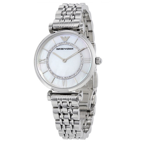 Emporio Armani AR1908 Classic MOP Crystal Dial Stainless Steel Womens Watch