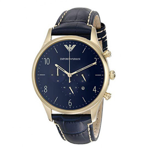 Emporio Armani AR1862 Classic Chronograph Blue Leather Mens Watch