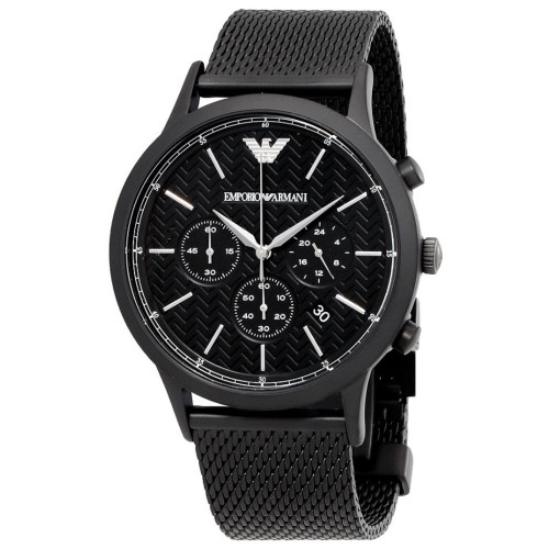 Emporio Armani AR2498 Renato Chronograph Black Stainless Steel Mesh Mens Watch