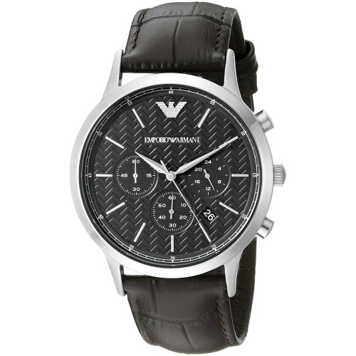 Emporio Armani AR2482 Classic Chronograph Brown Leather Mens Watch