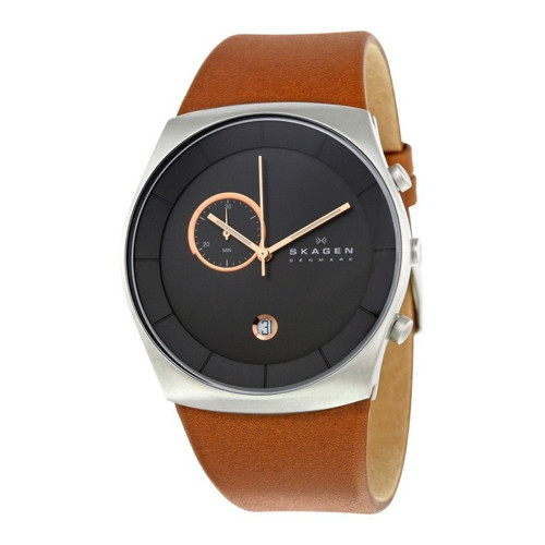 Skagen SKW6085 Havene Chronograph Gray Dial Brown Leather Mens Watch