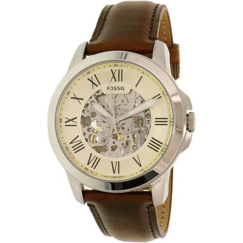 Fossil Grant Automatic Self Wind Skeleton Leather Mens Watch ME3099