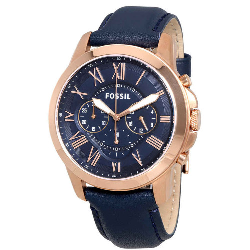 Fossil Grant Chronograph Blue Leather Mens Watch FS4835