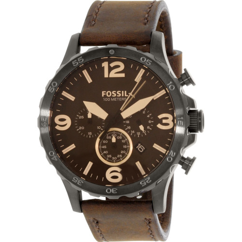 Fossil Nate Chronograph Brown Leather Mens Watch JR1487