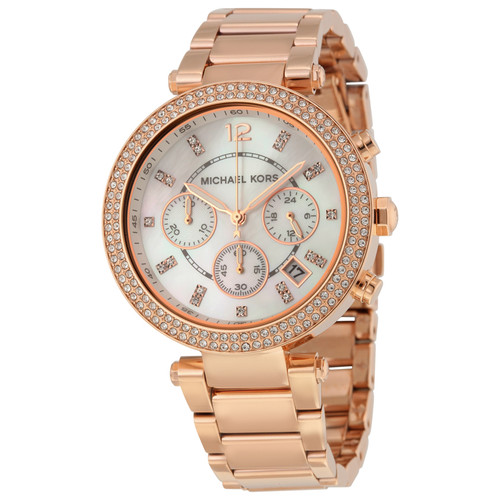 Michael Kors MK5491 Parker Crystal Chronograph Rose-tone Stainless Steel Womens Watch