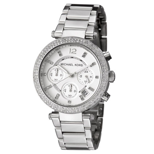 Michael Kors MK5353 Parker Crystal Chronograph Stainless Steel Womens Watch