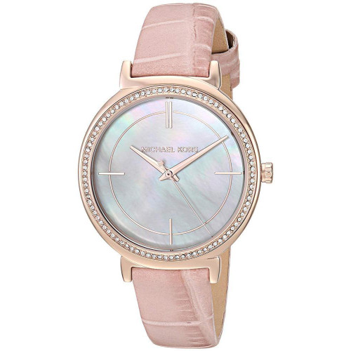 Michael Kors MK2663 Cinthia MOP Crystal Pink Leather Womens Watch
