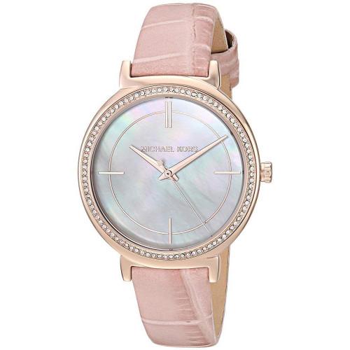 Michael Kors MK2663 Cinthia MOP Crystal Pink Leather Womens Watch