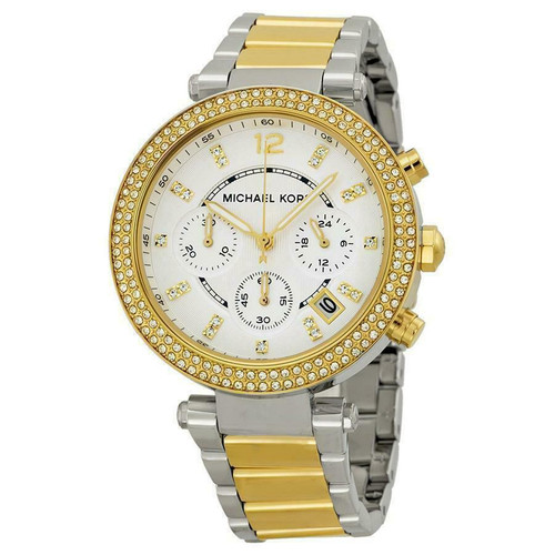 Michael Kors MK5626 Parker Crystal Chronograph Two-tone Stainless Steel Womens