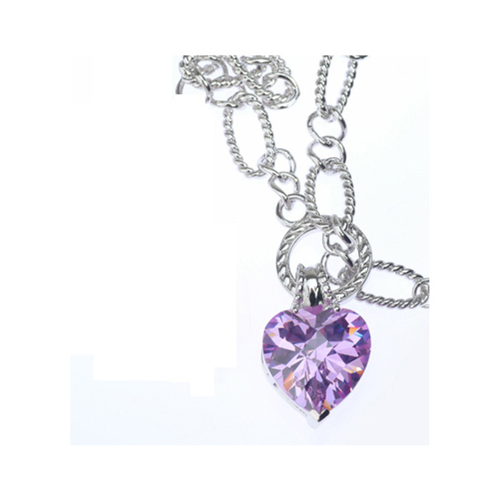 Sterling Silver 925 Oval Rolo Chain Bracelet with Purple CZ Heart Charm
