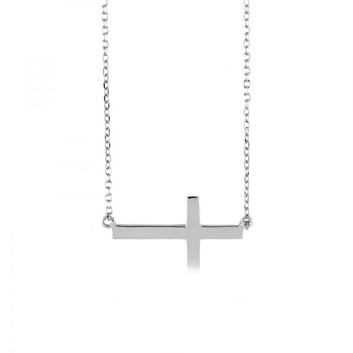 Sterling Silver 925 Sideways Cross Adjustable Necklace